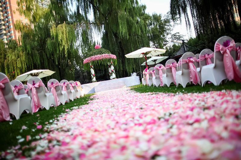 Outdoor wedding Scene. Chairs and flowers at an outdoor wedding stock photography