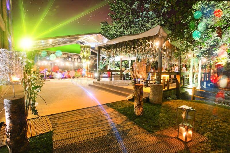 Outdoor wedding tent at night stock photos