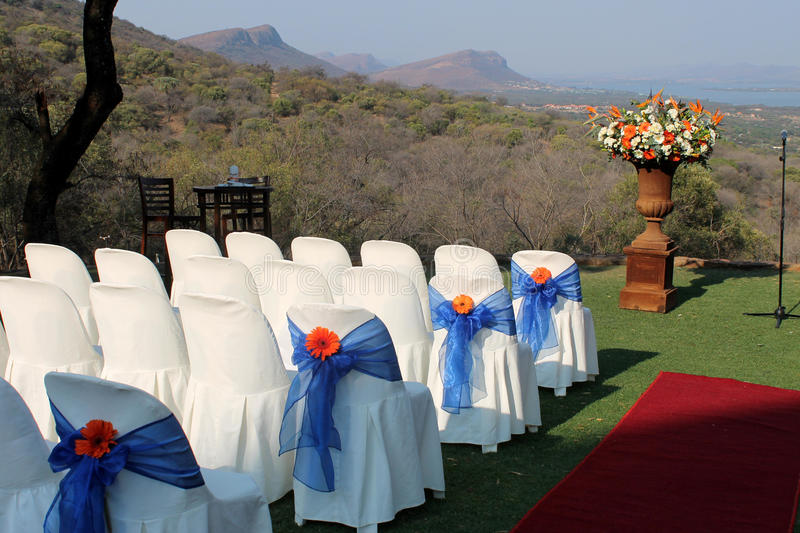 Outdoor wedding venue. In summer royalty free stock photography