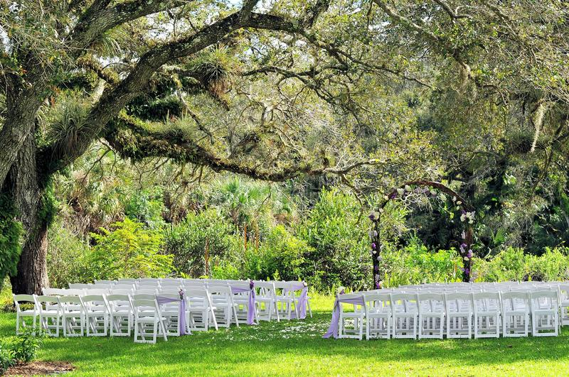 Outdoor wedding venue under old tree. Outdoor setting for a romantic style wedding venue in a South Florida park stock photography