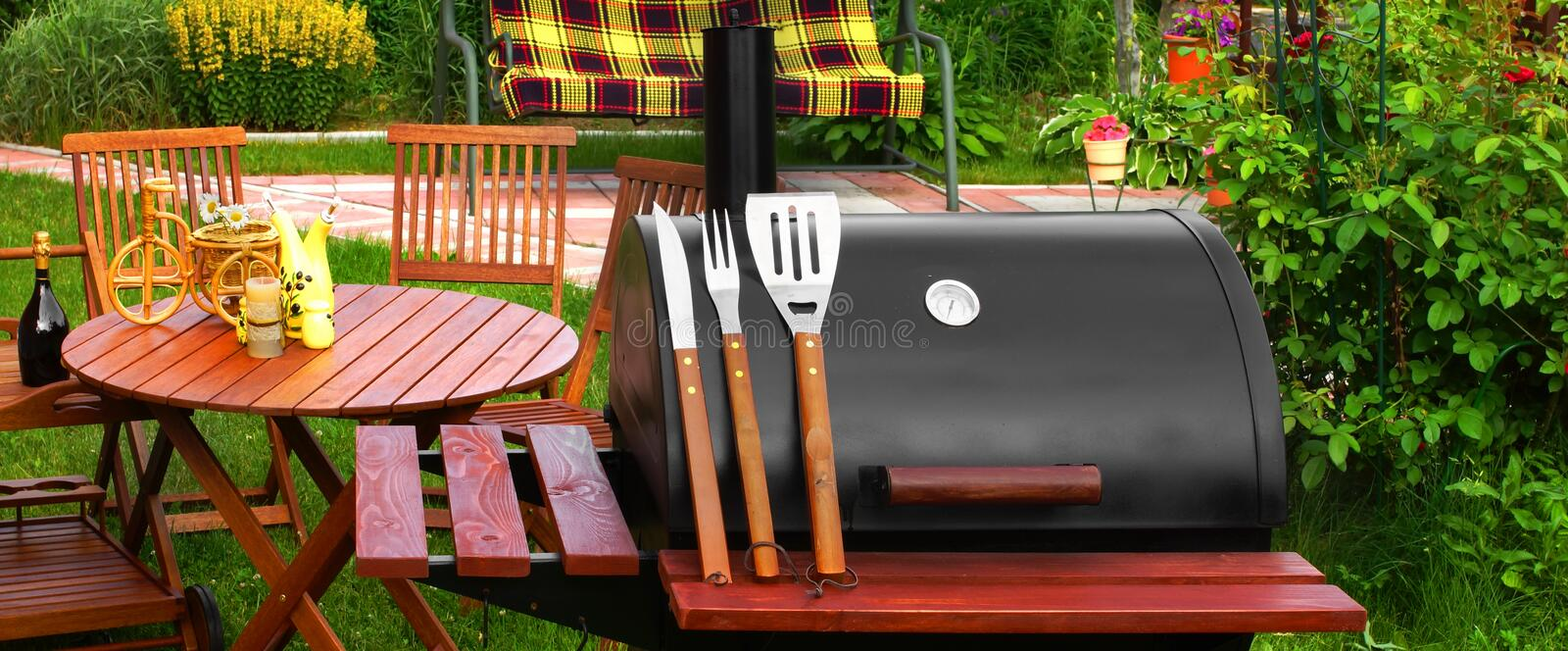 Outdoor Weekend BBQ Grill Party Or Picnic Concept. Outdoor Summer Weekend BBQ Grill Party Or Family Lunch Or Cookot Food Or Picnic Concept stock photography