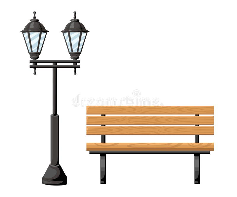 Outdoor wood bench and metal street light front view object for park cottage and yard vector illustration isolated on white backgr. Ound website page and mobile stock image