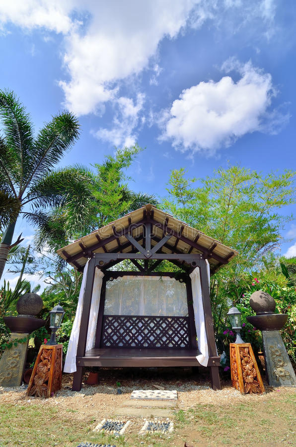 Download Outdoor wooden gazebo stock image. Image of leisure, park - 39511457