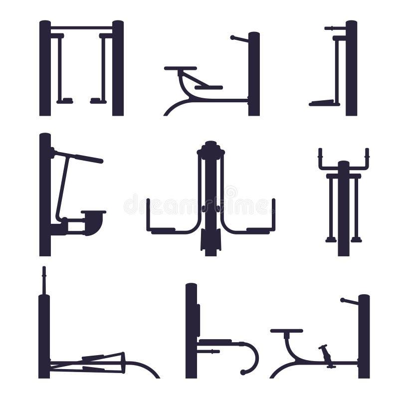 Outdoor workout machine black silhouette. Street gym background elements. Sport background equipment. Isolated on white background. Sport background royalty free illustration