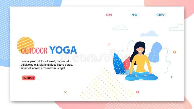 Outdoor Yoga. Cartoon Woman in Lotus Position stock illustration