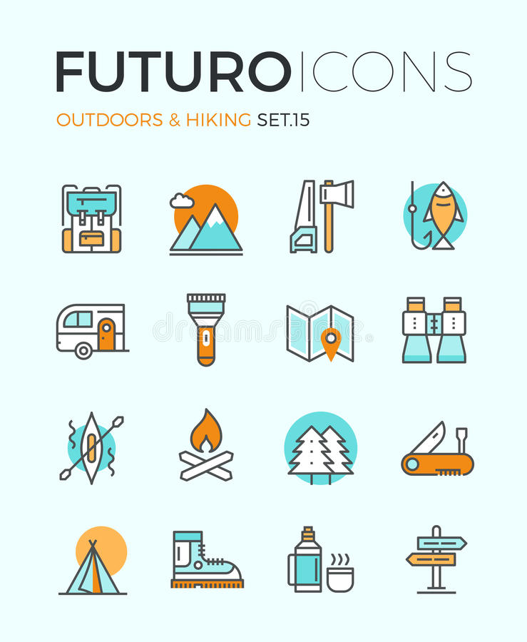 Outdoors и пешая линия значки futuro иллюстрация вектора