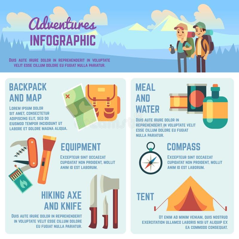 Outdoors рискуйте infographics вектора с и взбираясь значками оборудования, путешествующ люди и диаграммы бесплатная иллюстрация