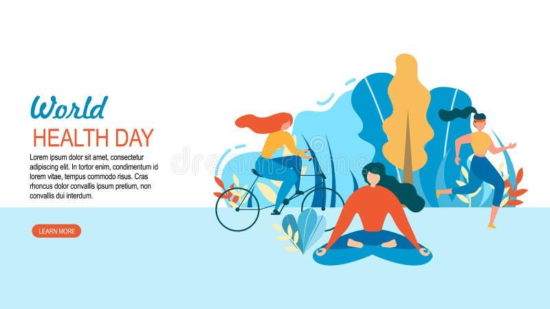 Outdoors тренировки спорта женщины дня здоровья мира бесплатная иллюстрация