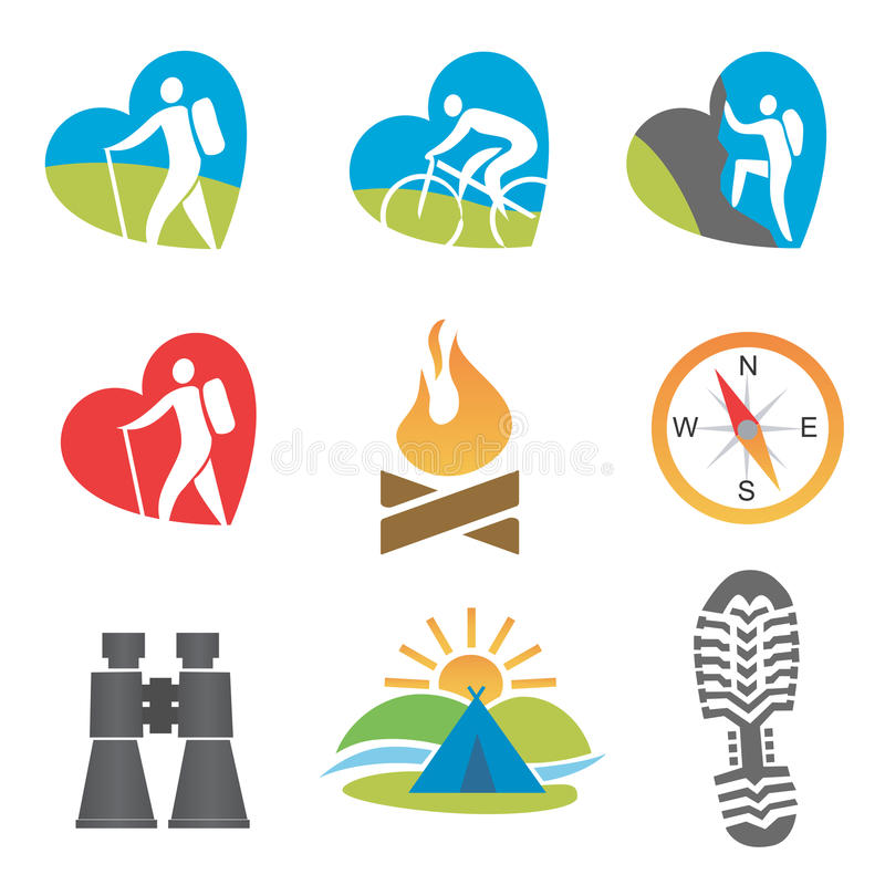 Download Outdoors_activity_icon_set stock vector. Image of mountain - 28485716