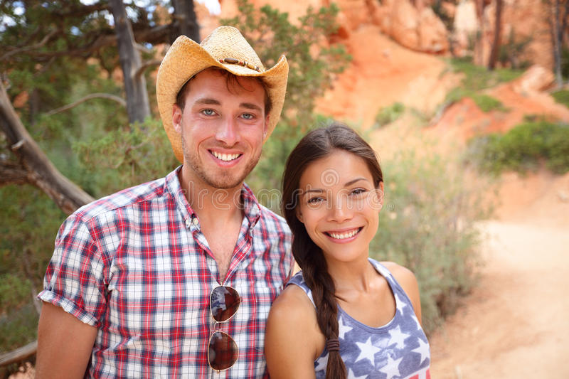 Outdoors couple portrait in american countryside stock image