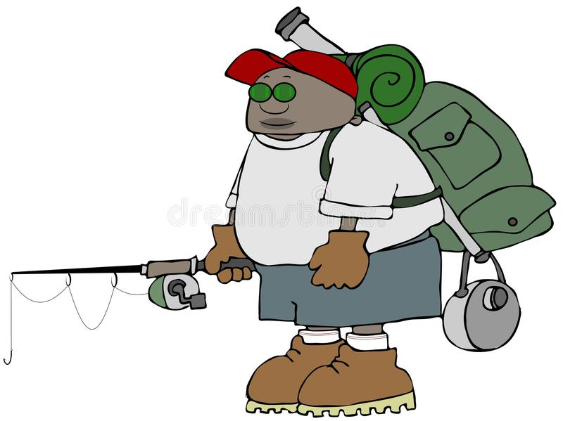 Outdoors enthusiast with a fishing pole royalty free illustration