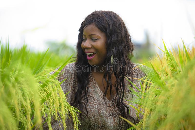 Outdoors fresh portrait of young beautiful and happy black afro American woman in cool dress having fun at tropical rice field. Enjoying exotic holidays trip in royalty free stock image