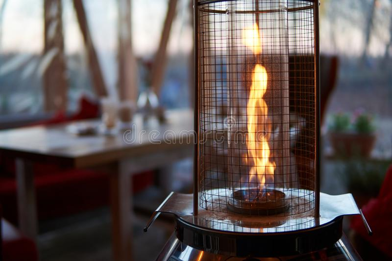 Outdoors gas heater royalty free stock image