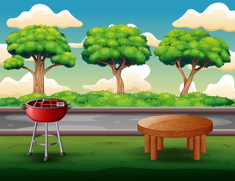 Outdoors grilla partyjny tło z grillem i stołem royalty ilustracja