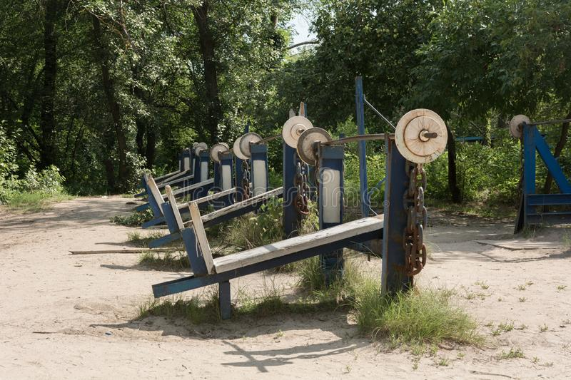 Outdoors gym, public workout park. 247, 24x7, civic, open all year around stock images