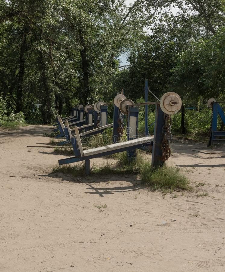 Outdoors gym, public workout park. 247, 24x7, civic, open all year around stock image