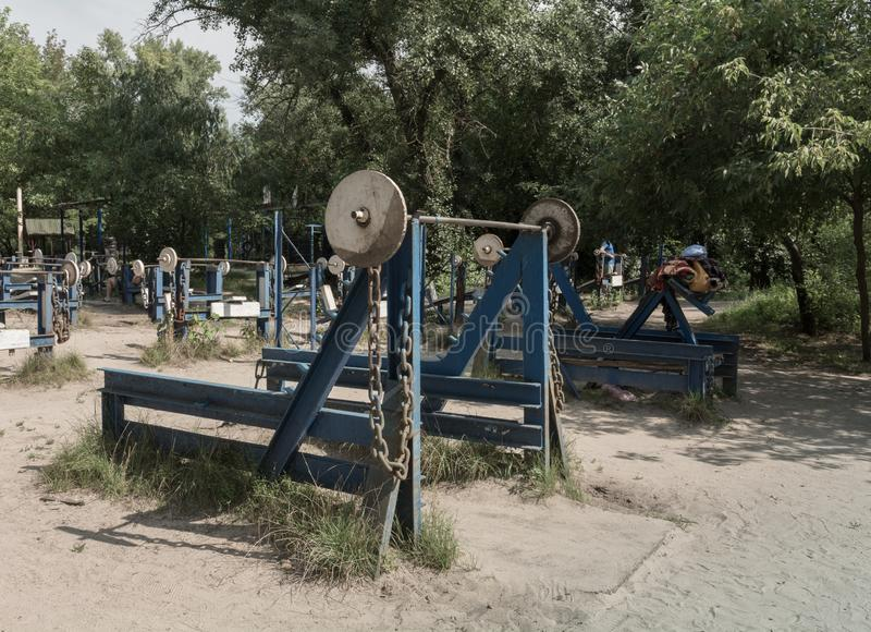 Outdoors gym, public workout park. Civic, 24x7, 247 open all year around royalty free stock images