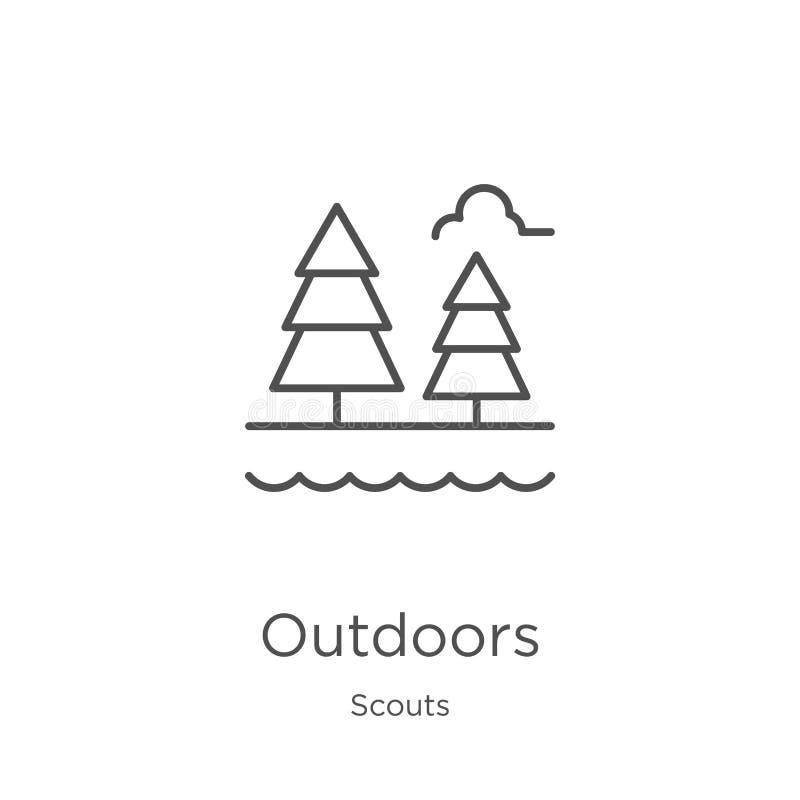 outdoors ikona wektor od harcerzy inkasowych Cienka linia outdoors zarysowywa ikona wektoru ilustrację Kontur, cienieje kreskową  ilustracji
