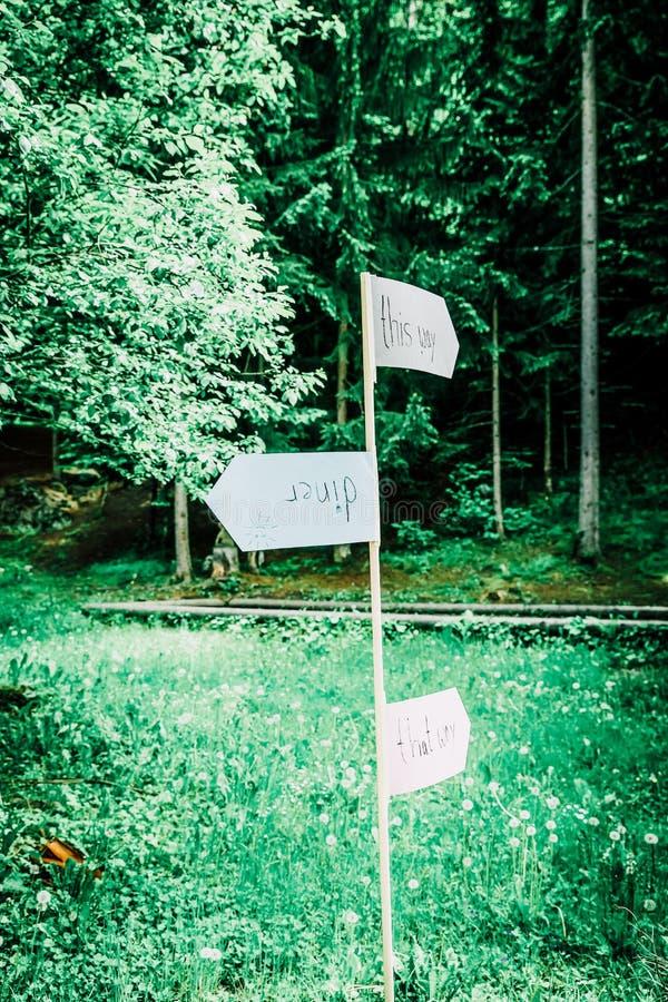 Outdoors Indie рука свадьбы написанная знаки направления стоковое изображение