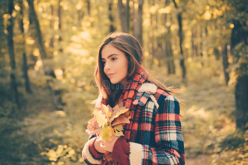 Outdoors lifestyle fashion portrait of pretty young woman walking on the autumn park. Outdoor atmospheric fashion photo royalty free stock photo