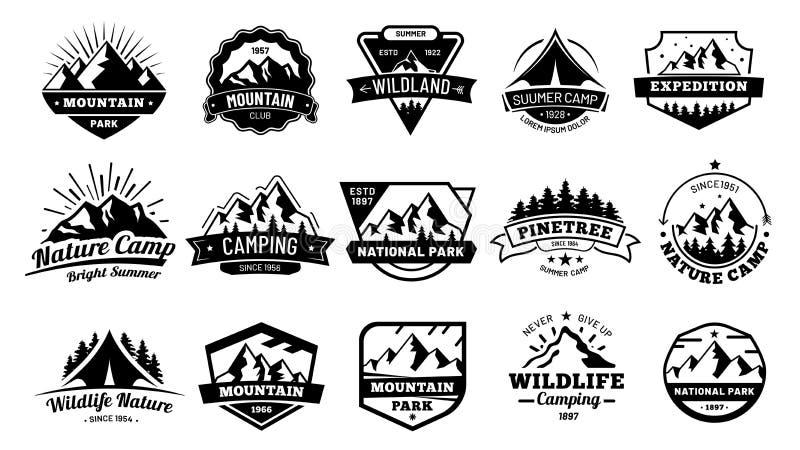 Outdoors natur odznaki Przygoda emblemat, rocznika pustkowia etykietka i outdooring campingowej odznaki ilustracji wektorowy set, ilustracja wektor