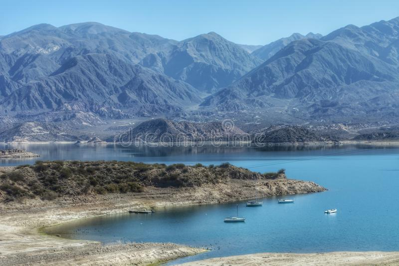 Outdoors nature landscape awesome beauty landmark blue lake mountains background at Mendoza Argentina stock images