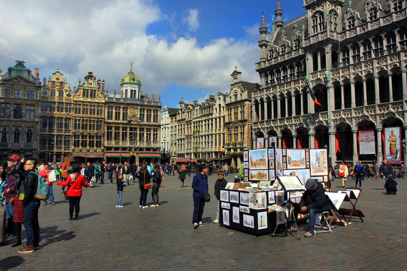 Brussels, Belgium Grand Place, outdoors in old center royalty free stock photography