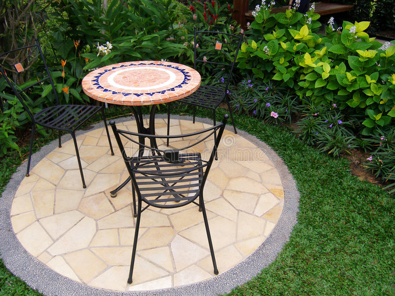 Outdoors patio with furniture royalty free stock photography