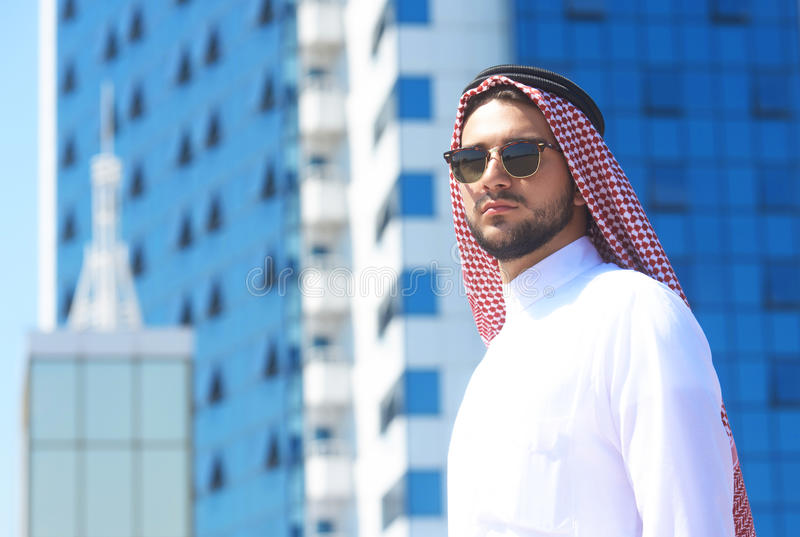 Outdoors portrait of an arabian man royalty free stock image