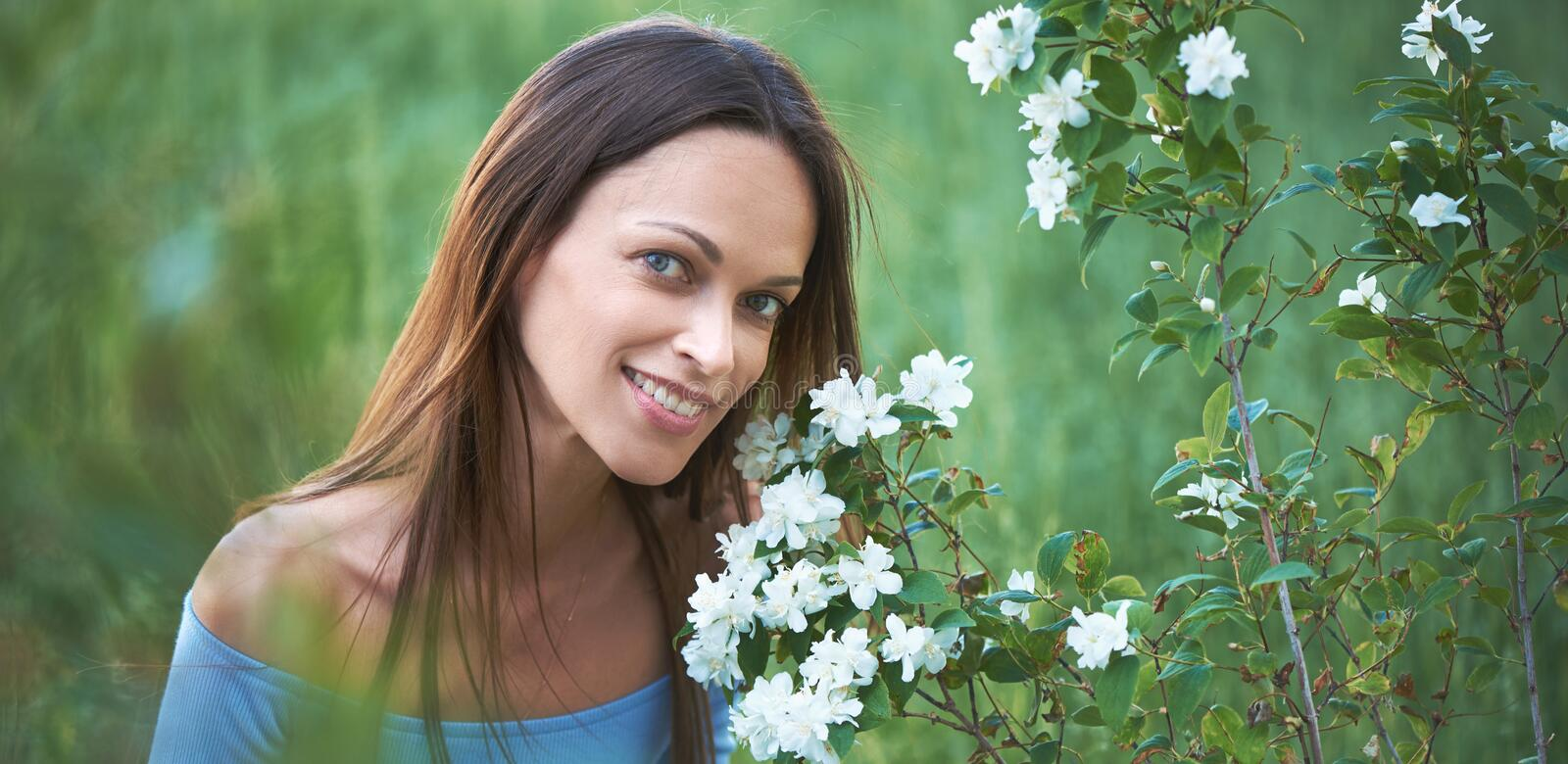 outdoors portrait of a pretty woman royalty free stock photo