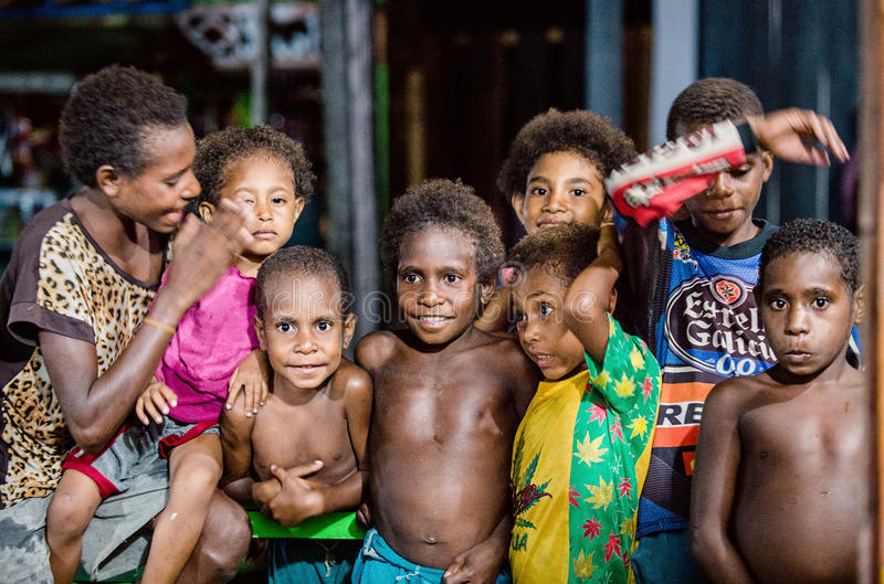 Outdoors Portrait of unidentified Papuan little kids. royalty free stock photography