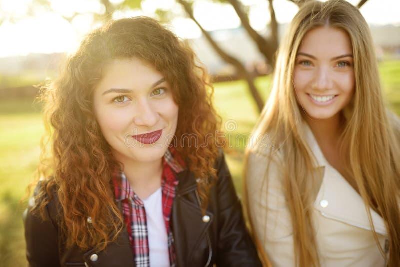 Outdoors portret dwa błoga młoda kobieta Rozmaitość żeński piękno zdjęcia stock