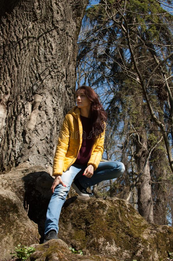 Outdoos portrait of young girl in yellow jacket sitting near big old tree in the park during sunny day in early spring stock photos