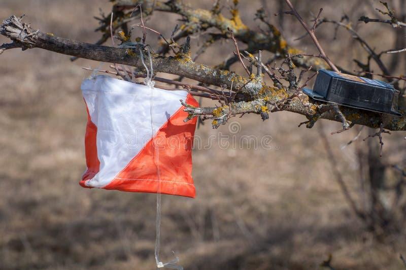 outed的 检验站棱镜和电子composter orienteering的特写镜头的 航海设备 作为背景诱饵概念美元灰色吊异常分支 免版税库存图片