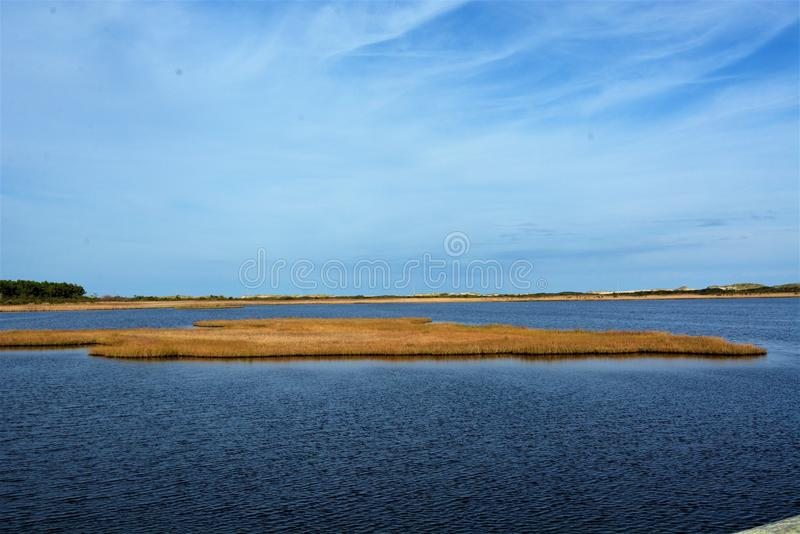 The Outer Banks`Bodie Island marsh has many water foul visiting at any one time. The current Bodie Island Lighthouse is the third that has stood in this vicinity royalty free stock images