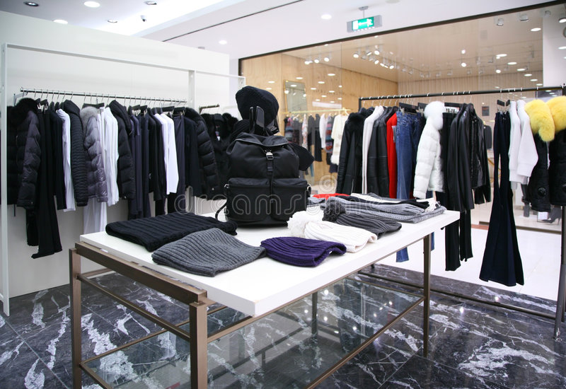 Outer clothing department. Modern interior stock photos