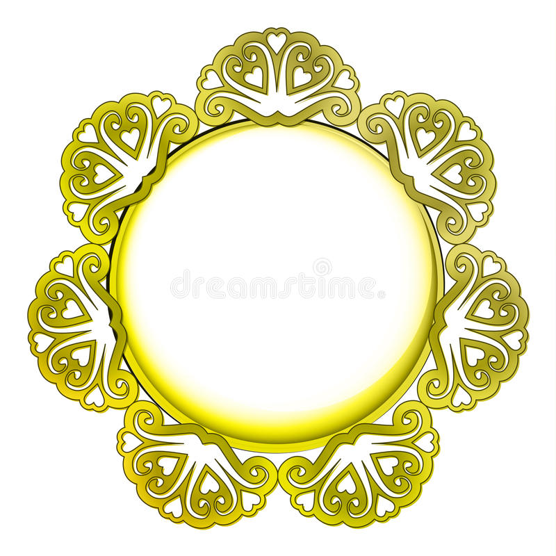 Outer decorated golden frame vector illustration