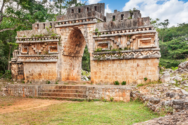 Outer face Labna vaulted arch. The overgrown outer face of Labna's Mayan vaulted arch royalty free stock photos