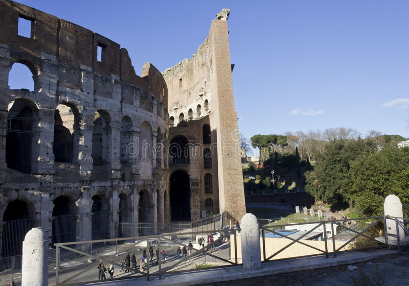 Outer and inner walls of Colosseum in Rome. ROME, ITALY - JANUARY 1 2015: Close up of the outer and inner walls of Colosseum in Rome, Italy royalty free stock images