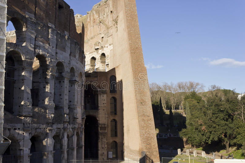 Outer and inner walls of Colosseum. ROME, ITALY - JANUARY 1 2015: Close up of the outer and inner walls of Colosseum in Rome, Italy royalty free stock photography