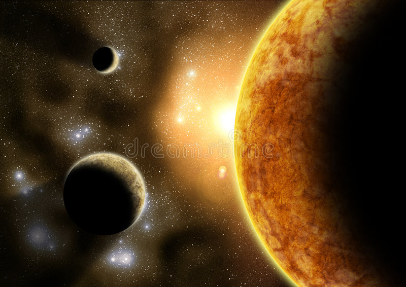 Outer planets stock image