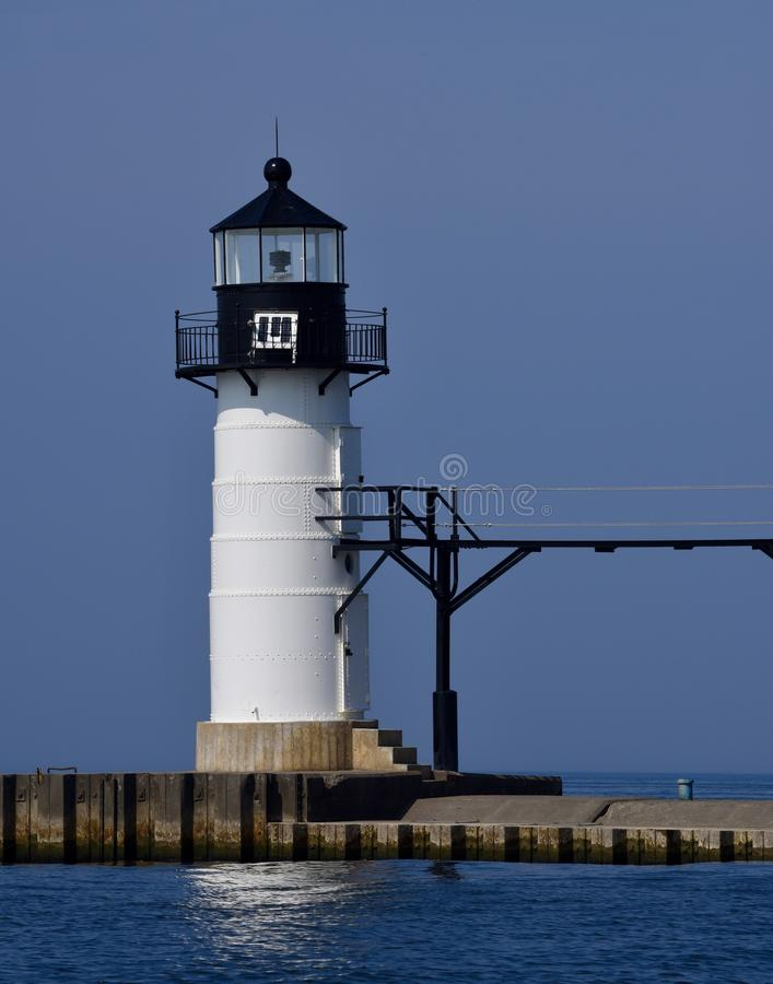 Outer Range Light. This is a Fall picture of the iconic Outer Range Light that make up the St. Joseph Lighthouse Complex on Lake Michigan located in St. Joseph royalty free stock photos