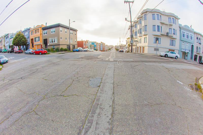 The outer richmond in san francisco with in the background under. San Francisco, United States - March 03 2013: we see the difficulties of driving in san stock photo