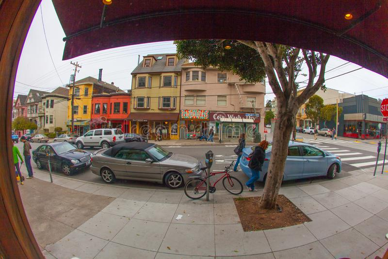 The outer richmond in san francisco here in the shopping street royalty free stock photography