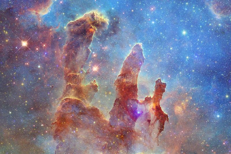 Outer space art. Nebulas, galaxies and bright stars in beautiful composition. Elements of this image furnished by NASA royalty free illustration