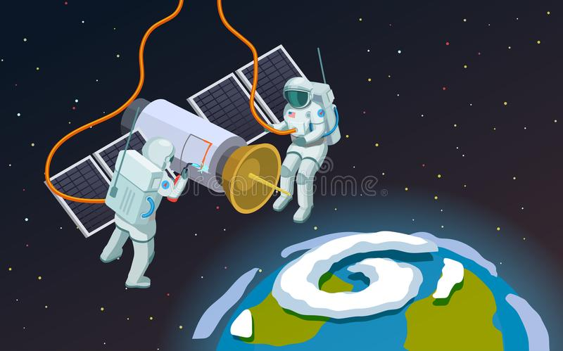 Outer Space Astronauts Composition. Astronauts in open space isometric composition with cartoon style terrestrial sphere and two spacemen in armour vector vector illustration