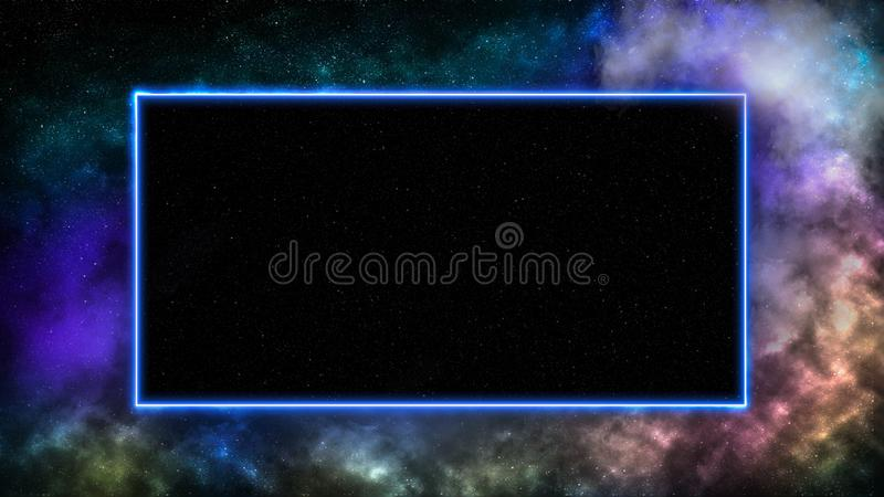 Outer space background with galaxies and stars. Frame for text or product display made of neon laser lights royalty free illustration