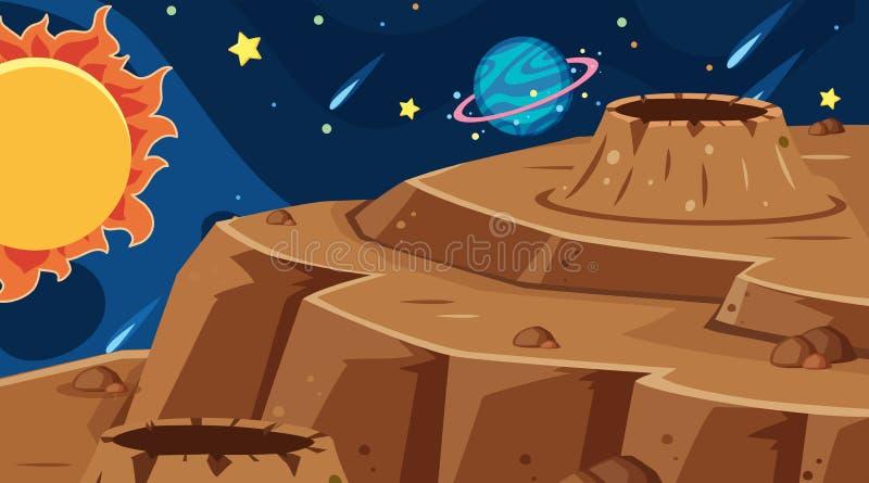 Outer space background scene. Illustration vector illustration
