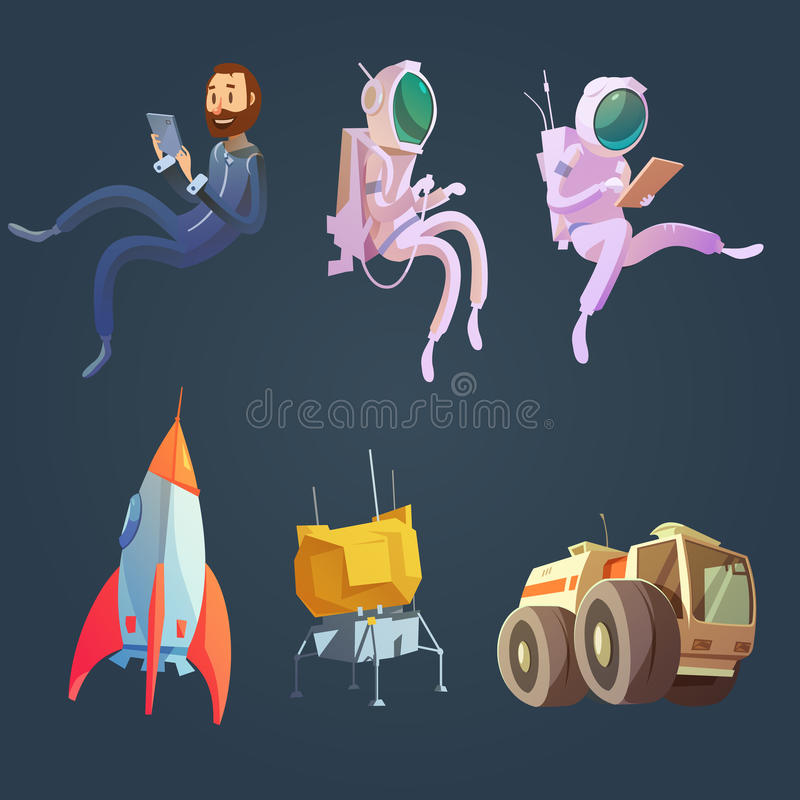 Outer Space Cartoon Set vector illustration
