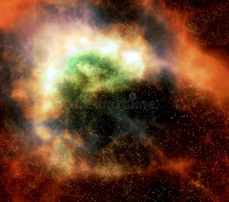 Outer space cloud nebula and stars vector illustration